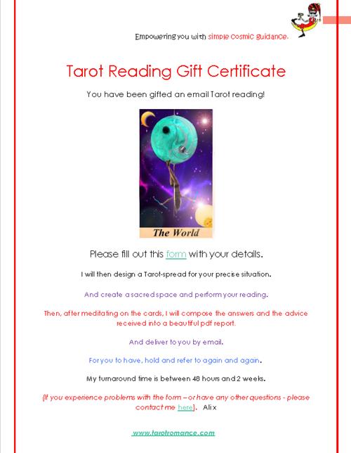 Tarot Gift Certificates